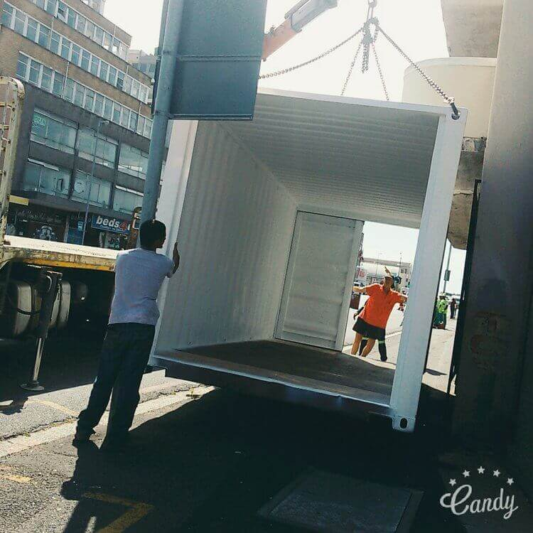 Shipping Container About To Be Placed On The Floor | Container Rental & Sales