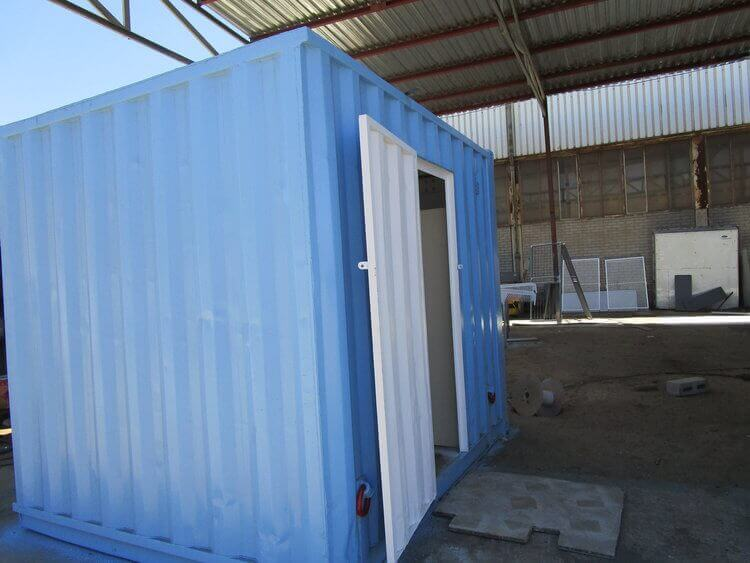 Small Blue Shipping Container With White Door | Container Rental & Sales 14