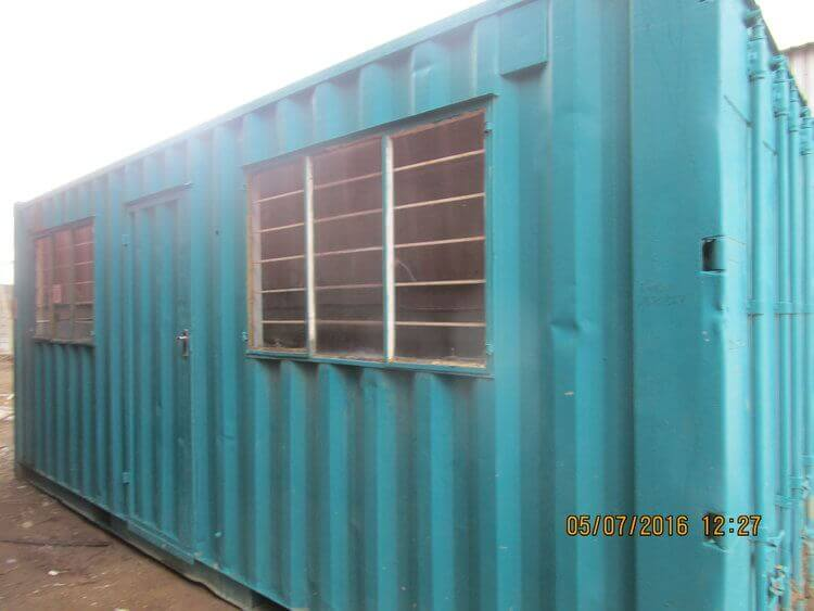 Light Blue Container With Fitted Windows | Container Rental & Sales