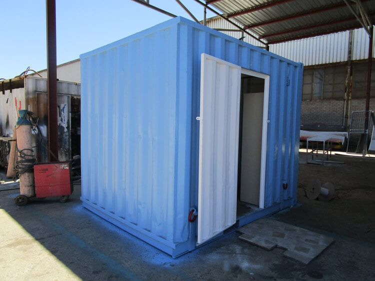 Small Blue Shipping Container With A White Door | Container Rental & Sales