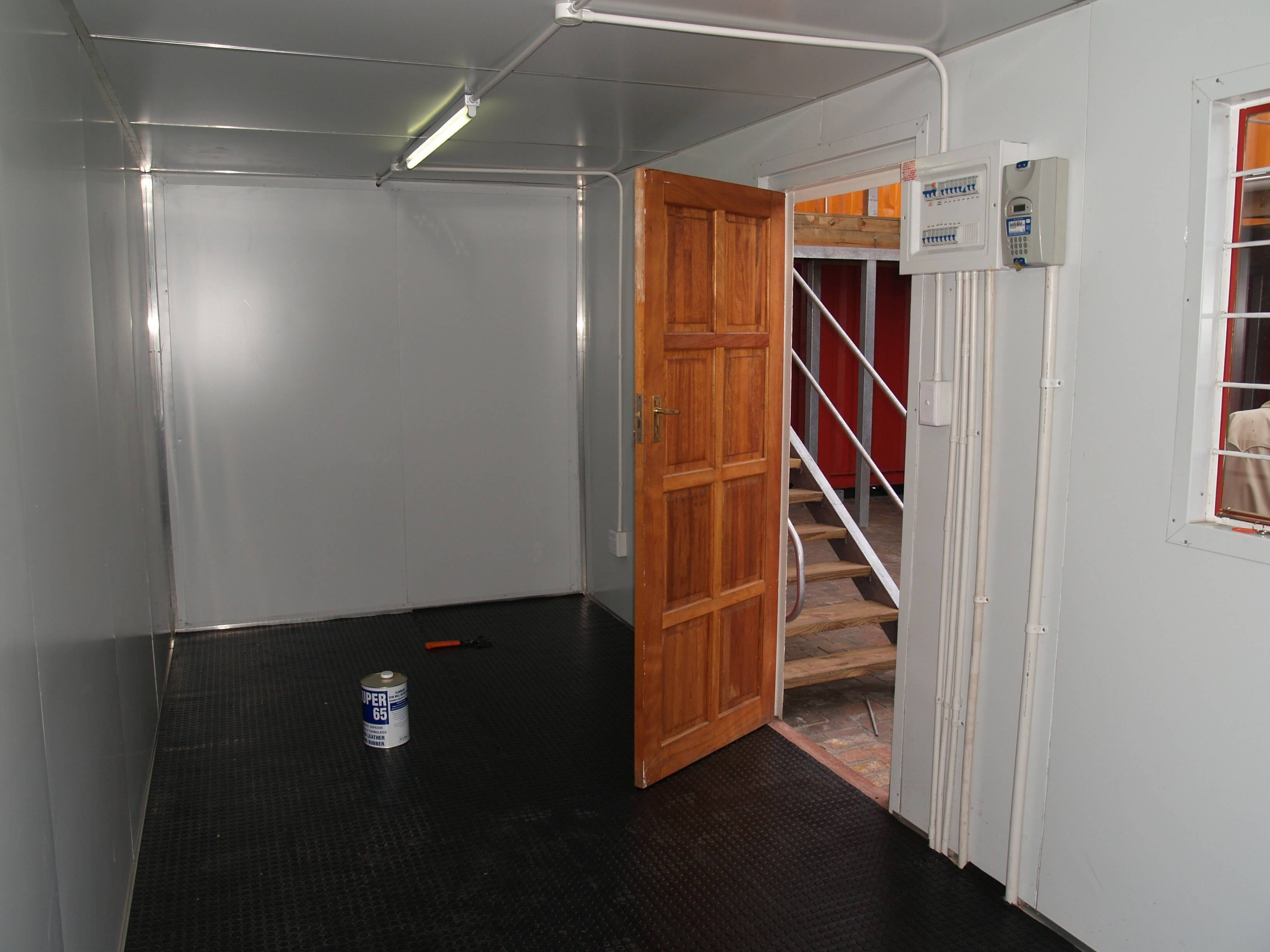 Container With Open Wooden Door | Container Rental & Sales