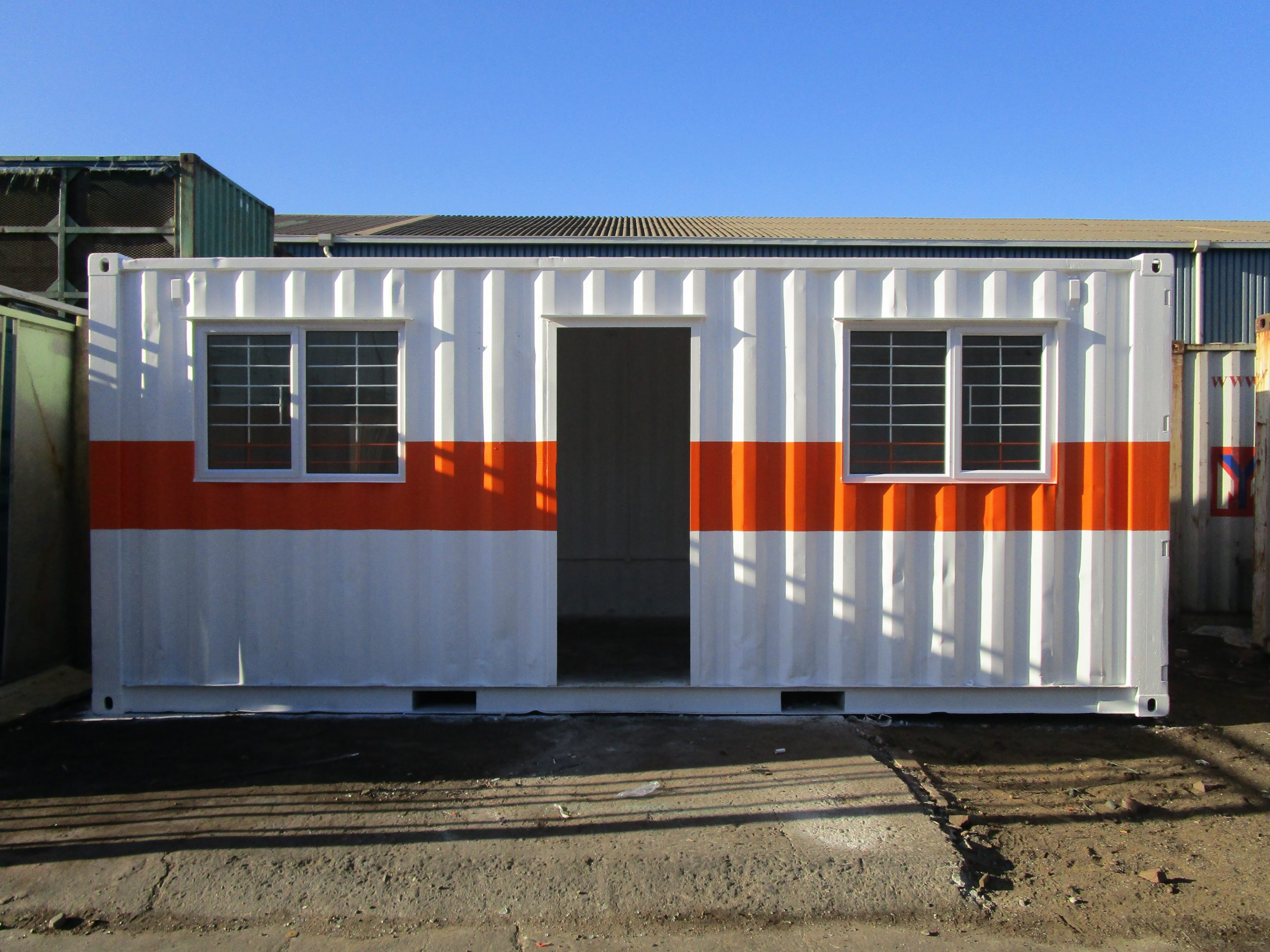 White With Orange Stripe Container | Container Rental & Sales 01