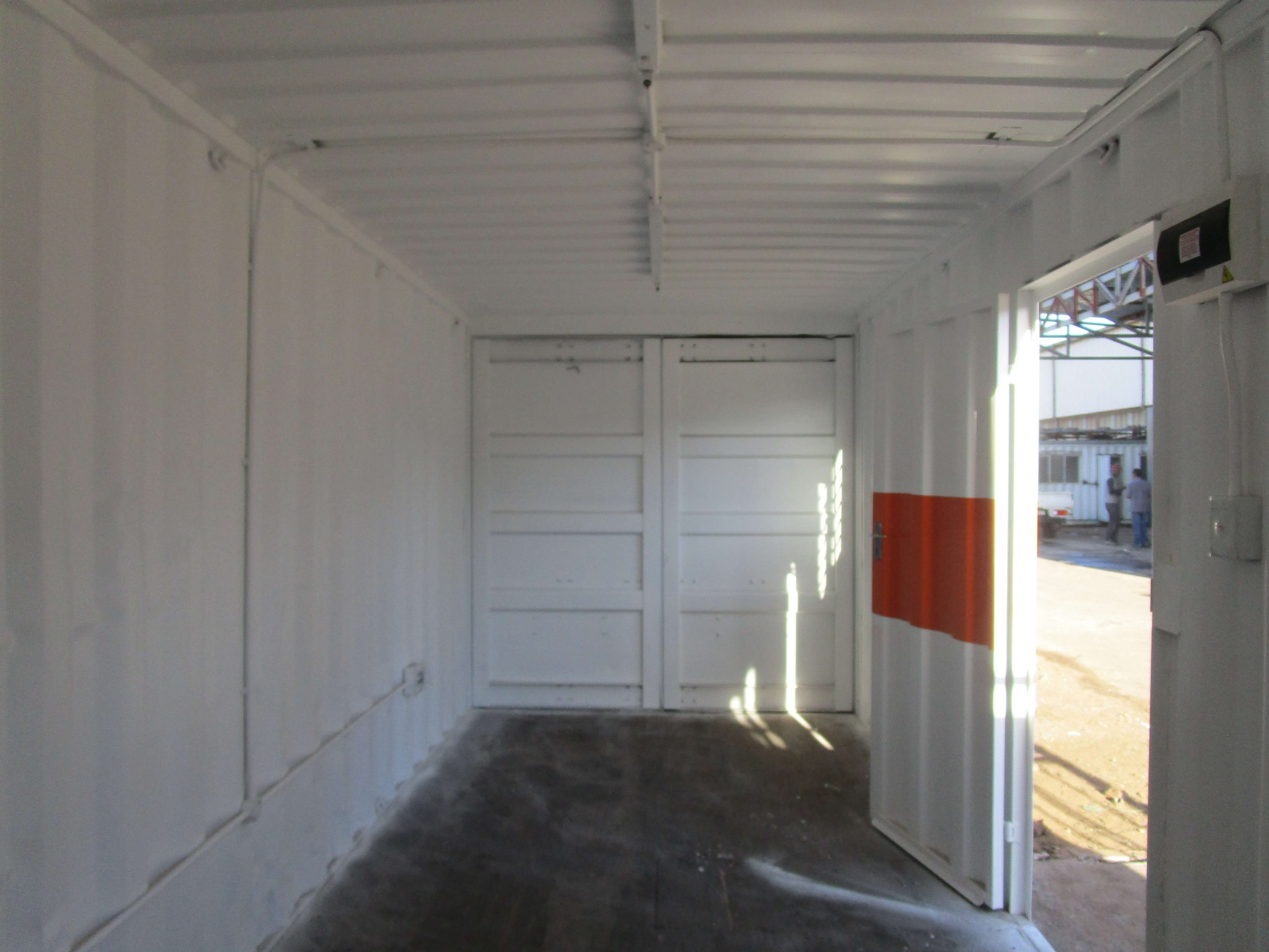 White With Orange Stripe Container Inside View | Container Rental & Sales