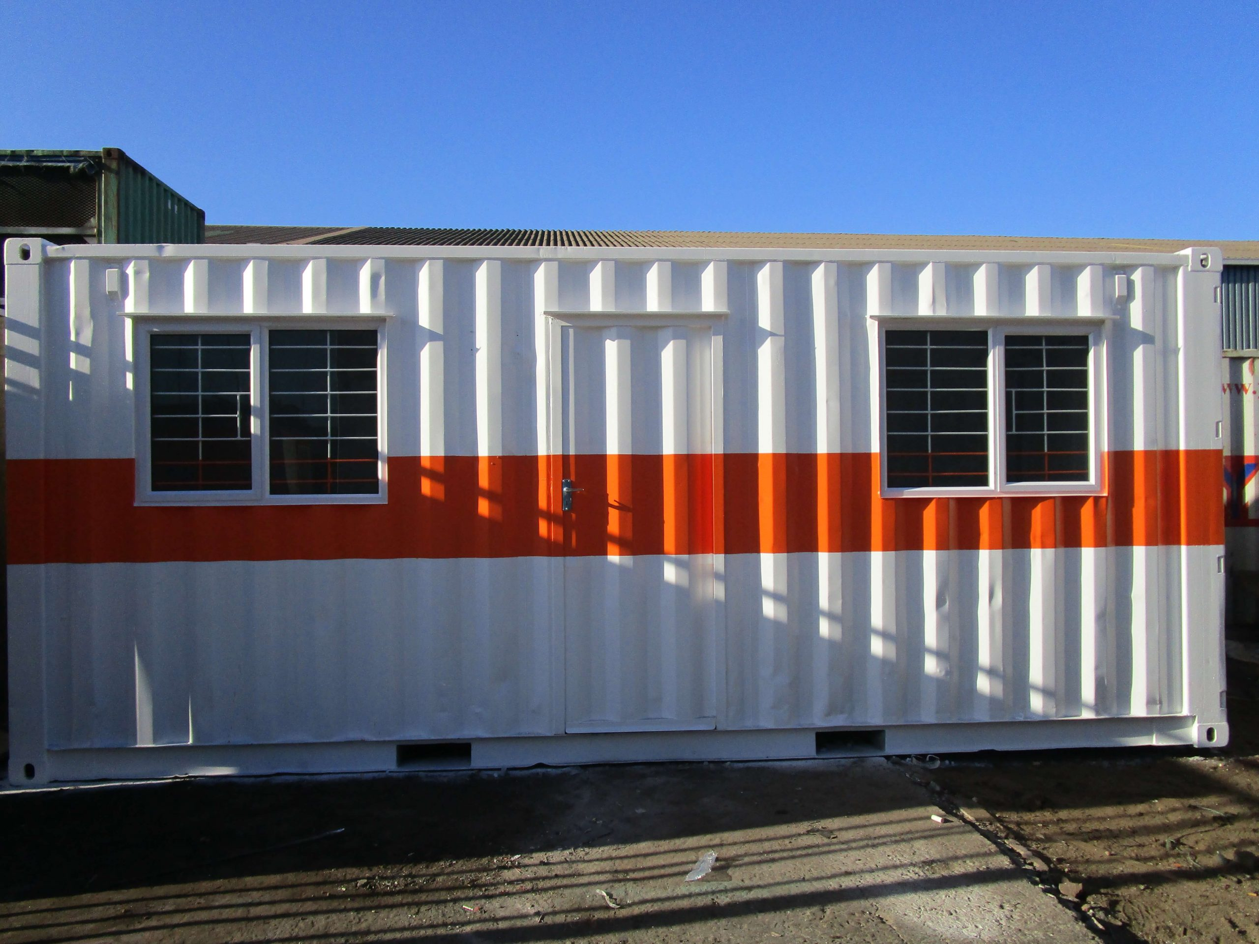 White With Orange Stripe Container | Container Rental & Sales