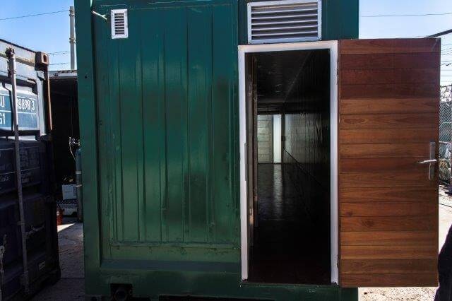 Green Container With Open Wooden Door | Container Rentals & Sales 108